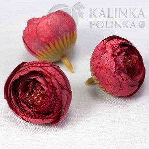Цветы из ткани, цвет бордовый с крапушками, р-р цветка ок. 3.5см, ножка ок. 1см, ОПТ Цветы из ткани, цвет бордовый с крапушками, р-р цветка ок. 3.5см, ножка ок. 1см