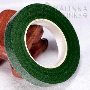 Флористическая лента (тейп лента), ширина 12мм, цвет зеленый мох