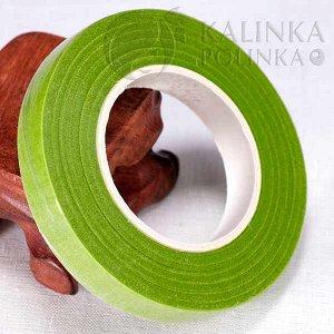 Флористическая лента (тейп лента), ширина 12мм, цвет молодой зелени.
