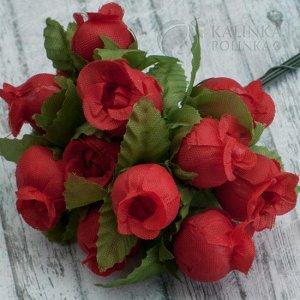 1 букет (12шт.) Цветы из ткани Розочки, цвет красный, р-р цветка 12х18мм, ножка 8см., Цветы из ткани Розочки, цвет красный, р-р цветка 12х18мм, ножка 8см, в 1 букете 12шт., ОПТ 10 букетов (120шт.) Цве