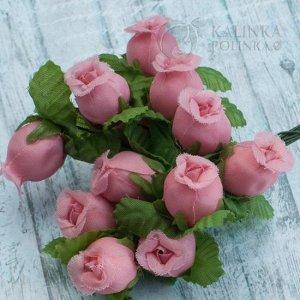 1 букет (12шт.) Цветы из ткани Розочки, цвет фламинго, р-р цветка 12х18мм, ножка 8см, Цветы из ткани Розочки, цвет фламинго, р-р цветка 12х18мм, ножка 8см, в 1 букете 12шт., ОПТ 10бук. (120шт.) Цветы