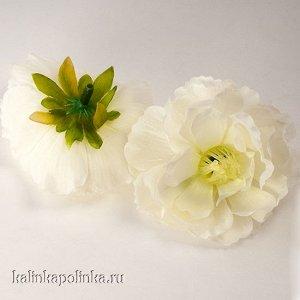 Цветы из ткани, цвет белый, р-р цветка ок. 6.5см