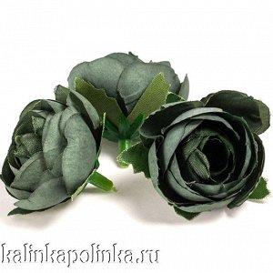 Цветы из ткани, цвет темно-оливковый, р-р цветка ок. 3.5см, ножка ок. 0.8см