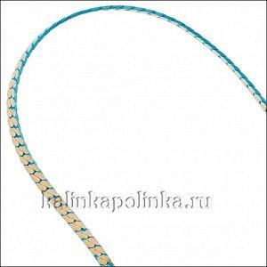 Латунная цепочка с паяными звеньями, панцирное плетение, расплющенная, бирюзовое покрытие, р-р 1.7х0.5мм, продается отрезками по ...
