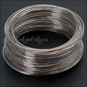 Мемори проволока для браслетов, сталь с эффектом памяти, цвет платина, диам. 58мм, толщина 0.6мм.