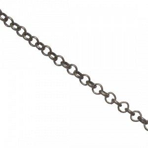 Цепочка для бижутерии, железная, плетение ролло, цвет бронза, р-р 2.5х0.7мм