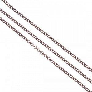 УЦЕНКА (легко рвется) Цепочка для бижутерии, железная, плетение ролло, цвет медь, р-р 2х0.5мм.