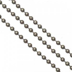 Цепочка для бижутерии, железная, шариковая, цвет бронза, р-р 2мм