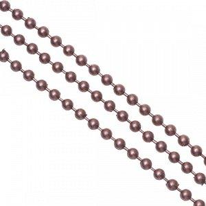 Цепочка для бижутерии, железная, шариковая, цвет медь, р-р 2мм