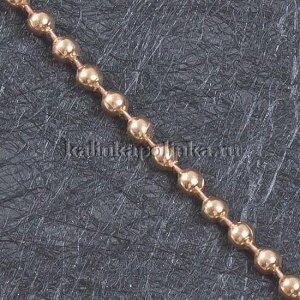 Цепочка для бижутерии, железная, шариковая, цвет розовое золото, р-р 3мм