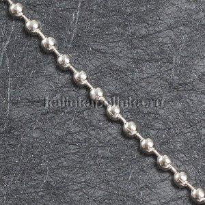 Цепочка для бижутерии, железная, шариковая, цвет серебро, р-р 3мм