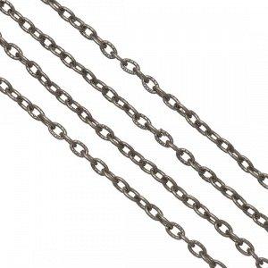 Цепочка для бижутерии, железная, якорное плетение, приплюснутая, цвет бронза, р-р 3х2х0.5мм