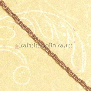 Цепочка для бижутерии, железная, якорное плетение, приплюснутая, цвет медь, р-р 3х2х0.5мм