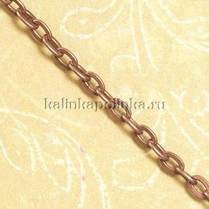 Цепочка для бижутерии, железная, якорное плетение, приплюснутая, цвет медь, р-р 5.5х3.3х0.8мм
