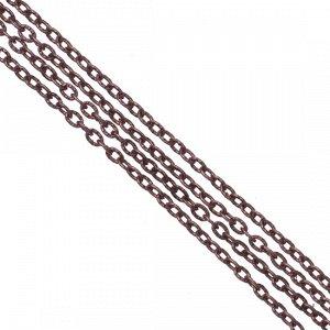 Цепочка для бижутерии, железная, якорное плетение, рифленая, цвет медь, р-р 3х2х0.5мм