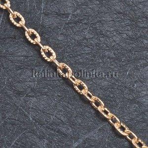 Цепочка для бижутерии, железная, якорное плетение, рифленая, цвет розовое золото, р-р 4.5х3х0.8мм
