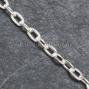 Цепочка для бижутерии, железная, якорное плетение, рифленая, цвет серебро, р-р 8х5х1.2мм