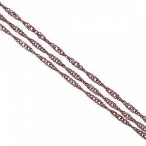 Цепочка для бижутерии, латунная, панцирное плетение, алмазная грань, крученая, цвет медь, р-р 3х2х0.5мм