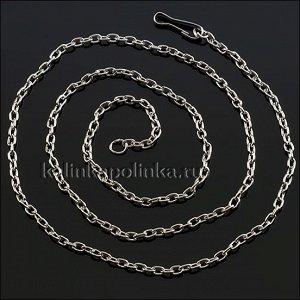 Цепочка с замочком, якорное плетение, цвет серебро, размер 2.4мм, длина 40 см