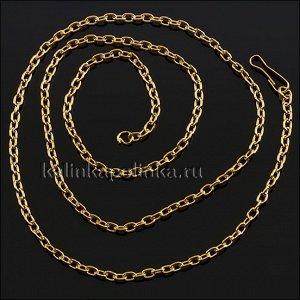 Цепочка с замочком, якорное плетение, цвет желтое золото, размер 2.4мм, длина 42см