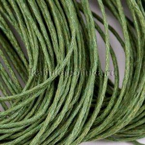 Шнур вощёный хлопковый, цвет лесной зеленый, толщина 1 мм, в пасме 72метра.