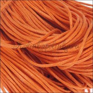 Шнур вощёный хлопковый, цвет оранжевый, толщина 1 мм. в пасме 72метра