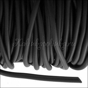 Шнур каучуковый, чёрный, матовый, эластичный, диам. 2.5мм