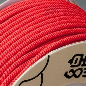 Шнур полиэстеровый, плетеный полый с сердечником, цвет красный, толщина 3мм