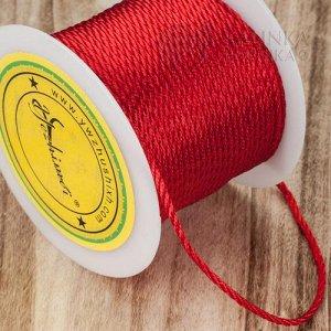 Шнур полиэстеровый, плетеный, имитация кручения, цвет красный, толщина 2мм