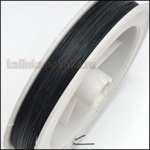 Ювелирный тросик, ланка, цвет чёрный, сечение 0,38 мм., цена за катушку ок. 52 метров.