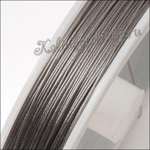 Ювелирный тросик (ланка) на катушке, диам. 0.45мм, в катушке 27 метров, цвет платина.