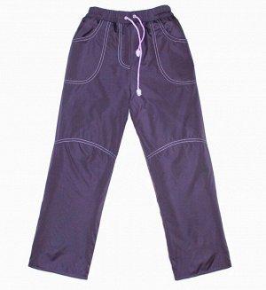 Брюки для девочек на флисе (Ткань верха плащевая DEWSPO PU MILKY подкладка FLEECE 180, цвет:Слива) 7077 24мес\92