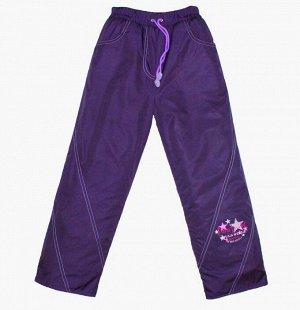 Брюки для девочек на флисе (DEWSPO PU MILKY подкладка FLEECE 180, цвет:Слива) 7062 36мес\98