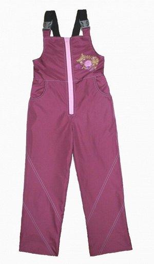 Полукомбинезон на флисе для девочек (Ткань верха плащевая DEWSPO PU MILKY подкладка FLEECE 180, цвет:Георгин) 6081 28/110