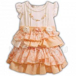 """Платье Pompella """"Пионы"""" для девочки Цвет: персиковый"""