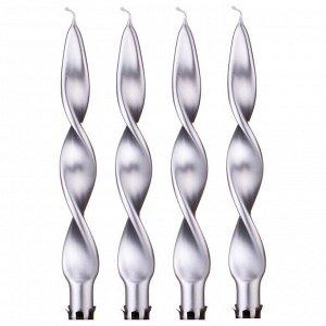 Набор свечей из 4 шт. 27/2,2 металлик серебряный (кор=6набор.)