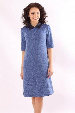 Платье Платье А-силуэта из меланжевого трикотажа с воротничком под кожу 30% вискоза 65% п/э,5% эластан