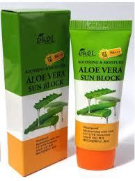 Ekel Aloe Vera Sun Block SPF 50+/PA +++ Легкий увлажняющий солнцезащитный крем с экстрактом алоэ вера 70 мл.