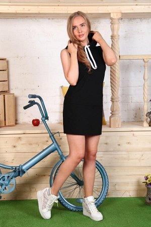 М604 Платье без рукавов с капюшоном,футер с лайкрой р.42-52,Состав:30 % хлопок,65% п/э, 5% эл.