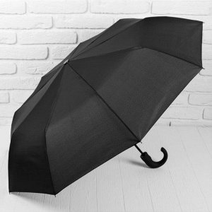 Зонт полуавтоматический «Однотонный», 3 сложения, 9 спиц, R = 50 см, цвет чёрный