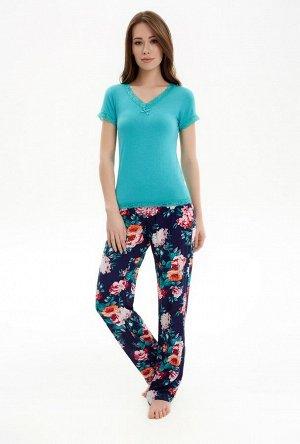 Комплект жен. (блузка и брюки) Glenda бирюзовый