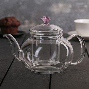 Чайник заварочный «Валенсия с розой», 600 мл, со стеклянным ситом