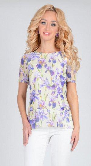 Блуза Блуза из  шифона с цветочным принтом, полуприлегающего силуэта, с отрезной баской.  Идеальное сочетание со светлыми брюками или юбкой-карандаш помогут создать романтический образ. Блуза на подкл