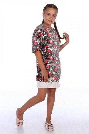Платье Характеристики: Состав- пэ; Материал: велюр Домашнее платье для девочки прямого силуэта из приятного и комфортного материала -велюр. Низ платья на шнурочке. Рукава изделия необработаны.