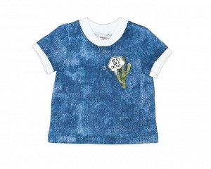 Футболка Футболка-поло из трикотажного эластичного хлопкового полотна, набивка «джинса», короткими рукавами с планкой, горловина под эластичный воротник. Застежка с двумя кнопками поможет без труда сн