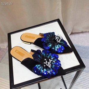 Оригинальные туфли без задника (мюли/бабуши) нат. Замша. Шикарный цветок!
