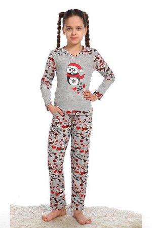 Детская пижама Пингвин хлопок (1106). Расцветка: серая