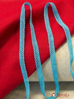 Кружево хлопок-90%, п/э-10%, 10мм, цв.бирюзово-голубой