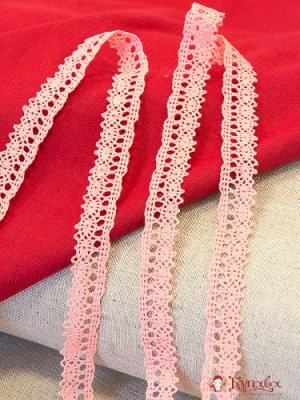 Кружево хлопок-90%, п/э-10%, 18мм, цв.коралловый светло-розовый