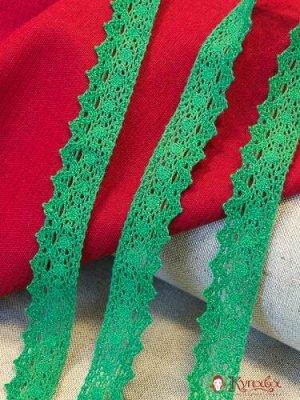Кружево хлопок-90%, п/э-10%, 25мм, цв.зеленый 2
